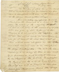 "Autographs:Statesmen, (Barbary Wars) Benjamin Stoddert Autograph Letter Signed, ""Benj.Stoddert"" as Secretary of the Navy. One page, 8"" x 9.75..."