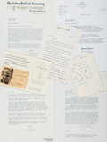 Autographs:Artists, [Book Collecting/Texana]. [John H. Jenkins]. Archive of Correspondence between Collector Lee Milazzo and Various Publishers an...