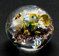 Paul Stankard Flameworked Clear and Colored Glass Blueberries & Bees Paperweight