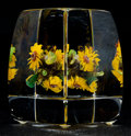 Art Glass:Other , Paul Stankard Flameworked Clear and Colored Glass SunflowerBouquet Cube. Circa 2002. Engraved Paul J. Stankar...(Total: 2 Items)