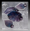 Art Glass:Other , Steffen Dam Cast Glass Fossil Plaque. Circa 2005. EngravedDam, 2005, Fossil. 8-3/4 x 9-1/8 x 1-1/2 in.. ...