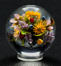 PAUL STANKARD FLAMEWORKED CLEAR AND COLORED GLASS LILAC ORB With an acrylic base