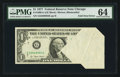 Error Notes:Foldovers, Fr. 1909-G $1 1977 Federal Reserve Note. PMG Choice Uncirculated64.. ...