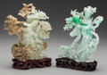 Asian:Chinese, Two Chinese Green Hardstone Carvings with Wood Bases. 9 inches high(22.9 cm) (tallest). ... (Total: 6 Items)