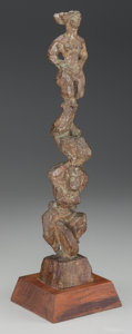 Fine Art - Sculpture, American:Contemporary (1950 to present), Chaim Gross (American, 1904-2004). Three Acrobats Balancing on a Unicycle, 1957. Bronze with brown patina. 16 inches (40...
