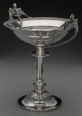 Silver Holloware, American:Center Pieces, A Wood & Hughes Coin Silver Footed Figural Center Bowl, NewYork, New York, circa 1855. Marks: W & H, 900/1000.12-1/4 x...