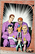 Original Comic Art:Covers, Brian Bolland and Lovern Kindzierski Challengers of theUnknown #1 Hand-Colored Blueline Cover Origina...