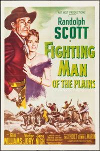 """Fighting Man of the Plains & Other Lot (Nat Holt Productions, R-1950s). One Sheets (2) (27"""" X 41""""). We..."""