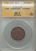1794 1/2 C Normal Head, C-4a, B-6b, R.3, -- Corroded, Cleaned -- ANACS. AG3 Details. NGC Census: (0/0). PCGS Population...