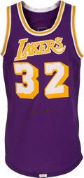 Basketball Collectibles:Uniforms, 1979-85 Magic Johnson Game Worn Los Angeles Lakers Jersey, MEARSA10....