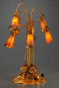 Art Glass:Tiffany , Tiffany Studios Gilt Bronze and Favrile Glass Seven-LightLily Lamp. Circa 1910. Base stamped TIFFANY STUDIOS, N...(Total: 8 Items)