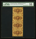 Fractional Currency:First Issue, Fr. 1230 5¢ First Issue Vertical Strip of Four PMG About Uncirculated 53.. ...