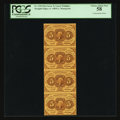 Fractional Currency:First Issue, Fr. 1230 5¢ First Issue Vertical Strip of Four PCGS Choice AboutNew 58.. ...