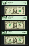 Error Notes:Inverted Third Printings, Inverted Third Printing Note with Two Bookends Fr. 1908-K $1 1974Federal Reserve Notes. Three Consecutive Notes.. ... (Total: 3notes)