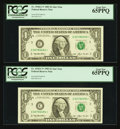 Small Size:Federal Reserve Notes, Fr. 1918-C* $1 1993 Federal Reserve Notes. Two Examples. PCGS Gem New 65PPQ.. ... (Total: 2 notes)