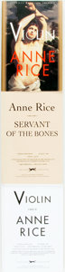Books:Horror & Supernatural, [Anne Rice]. Trio of First Editions. Includes: UNCORRECTED PROOF[with:] ADVANCED READER'S COPY. Violin. New... (Total: 3Items)