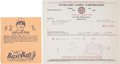 Baseball Cards:Singles (1930-1939), 1936 R301 Overland Candy Luke Appling Wrapper and Invoice. ...