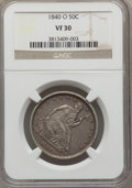 Seated Half Dollars, 1840-O 50C Baseball Reverse, Large O, VP-001, VF30 NGC. PCGS Population: (1/3). VF30. Mintage 855,100....