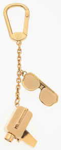 """Luxury Accessories:Accessories, Louis Vuitton Gold Camera & Sunglass Charm Keychain. Good toVery Good Condition. 1.5"""" Width x 5"""" Length. ..."""