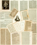 Books:Prints & Leaves, [History]. Small Archive of Prints and Manuscripts. Variouspublishers and dates. ...