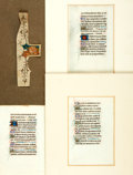 Books:Prints & Leaves, [Illuminated Manuscripts]. Group of Four Leaves. [N.p., n.d., circa15th-16th century]....