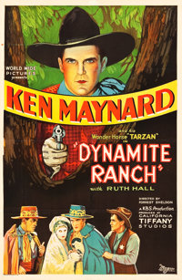 "Dynamite Ranch (K-B-S, 1932). One Sheet (27"" X 41""). Western"