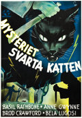 "Movie Posters:Mystery, The Black Cat (Universal, 1941). Swedish One Sheet (27.5"" X39.5"").. ..."