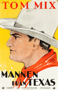 "The Man from Texas (Continental Film, R-1925). Swedish One Sheet (22.5"" X 35"")"