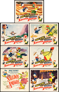 """Saludos Amigos (RKO, 1942). Title Lobby Card and Lobby Cards (6) (11"""" X 14""""). ... (Total: 7 Items)"""