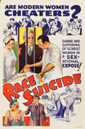 "Movie Posters:Exploitation, Race Suicide (Willis Kent Productions, 1937). One Sheet (27"" X 41"").. ..."