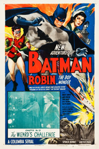 """The New Adventures of Batman and Robin (Columbia, 1949). One Sheet (27.25"""" X 41"""") Chapter 13 -- """"The Wiza..."""