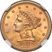 1873 $2 1/2 Open 3 MS66 NGC. CAC....(PCGS# 7817)