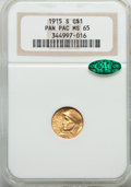 Commemorative Gold, 1915-S G$1 Panama-Pacific Gold Dollar MS65 NGC. CAC....