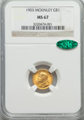 Commemorative Gold, 1903 G$1 Louisiana Purchase, McKinley, MS67 NGC. CAC....