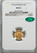 Commemorative Gold, 1903 G$1 Louisiana Purchase, Jefferson, MS65 NGC. CAC....