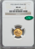 Commemorative Gold, 1922 G$1 Grant With Star MS66 NGC. CAC....