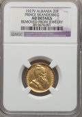 Albania, Albania: Republic gold 20 Franga Ari 1927-V AU Details (Removed from Jewelry) NGC,...