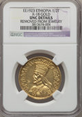 Ethiopia, Ethiopia: Haile Selassie gold Medal EE 1923 (1930) UNC Details (Removed from Jewelry) NGC,...