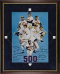 Autographs:Others, Early 1980's 500 Home Run Club Signed Print. This earlier image bynoted sports artist Ron Lewis preceded the entry of Phil...