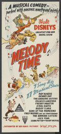 "Movie Posters:Animated, Melody Time (RKO, 1948). Australian Daybill (13"" X 30""). Animated...."