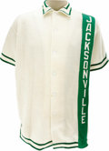 Basketball Collectibles:Uniforms, 1969-70 Artis Gilmore Jacksonville University Game Worn Warm-UpJacket. Beautiful and historic white fleece warm-up dates t...