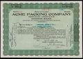 Football Collectibles:Others, 1924 Acme Packing Original Stock Certificate - Green Bay Packers' Original Sponsor! ...