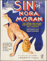 "The Sin of Nora Moran (Majestic, 1933). Partial Three Sheet (41"" X 53""). Crime"