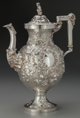 A Robert & William Wilson Coin Silver Coffee Pot, Philadelphia, Pennsylvania, circa 1850 Marks: R & W WI...