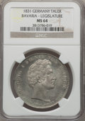 German States:Bavaria, German States: Bavaria. Ludwig I Taler 1831 MS64 NGC,...
