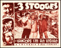 "Movie Posters:Comedy, The Three Stooges in Whoops, I'm an Indian! (Columbia, 1936). Lobby Card (11"" X 14"").. ..."