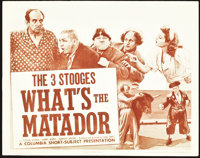"""The Three Stooges in What's the Matador? (Columbia, 1942). Title Lobby Card (11"""" X 14"""")"""