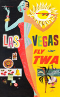 "Movie Posters:Miscellaneous, TWA Las Vegas Travel Poster (1960s). David Klein Full-Bleed Poster(25"" X 40"").. ..."