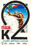 "Movie Posters:Documentary, Italia K2 (Cinematografica, 1955). Italian 4 - Foglio (55"" X 77.5""). Documentary.. ..."