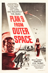 """Plan 9 from Outer Space (DCA, 1958). One Sheet (27"""" X 41"""") Black and Red Style"""